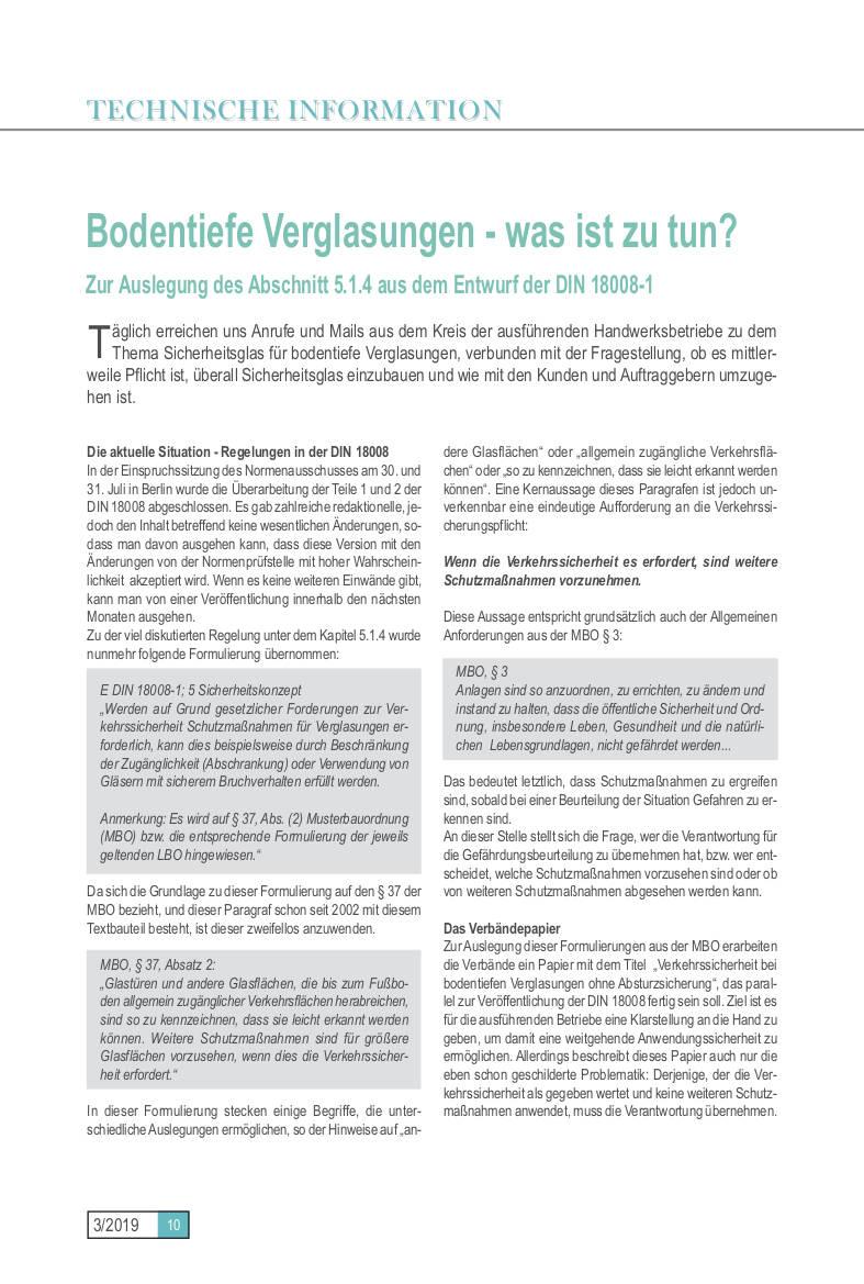 Technische Informationen 3/2019 Seite 10 • BIV Bundesinnungsverband des Glaserhandwerks